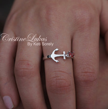 Sideways Anchor Ring with Genuine Birthstone - Sterling Silver, Yellow, Rose or White Solid Gold