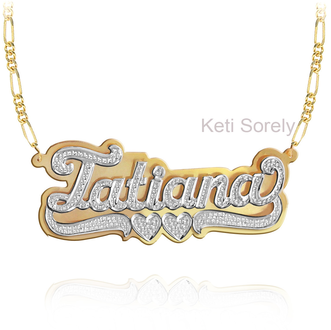 Personalized Name Necklace With Diamond Beading 3d Choose Metal