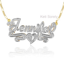 3D Name  Necklace with Diamond Beading - Sterling Silver, Yellow Gold & Rhodium