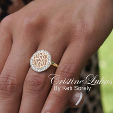Monogram Initials Ring With Cubic Zircons - Choose Your Metal