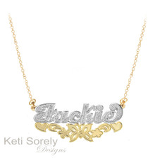 Two Tone Name Necklace with Diamond Beading & Butterfly - Sterling Silver w/Gold & Rhodium