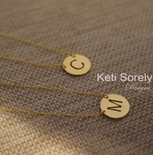 Handcrafted Monogram Initials Disc Necklace - Yellow, Rose or White Gold