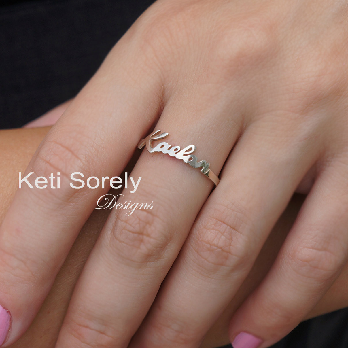 Celebrity Style Dainty Name Ring Handmade From Sterling Silver Or
