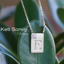 Hand engraved Rectangle Charm Necklace w/Birthstone -Choose Your Metal