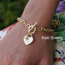 Hand Engraved Heart Bracelet with Pearl & Large Link Chain - Choose Your Metal