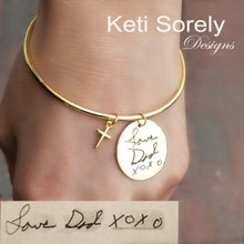 Engraved Signature Disc Bangle with Cross- Choose Your Metal