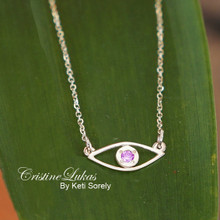 Evil Eye Necklace with Genuige Birthstone -Choose Your Metal