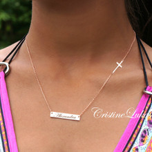 Hand Engraved Name Bar Necklace with Sideways Cross -Choose Your Metal
