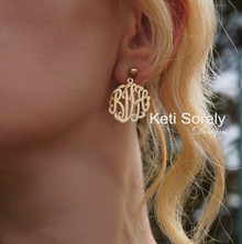 Handmade Monogram Initials Ball Earrings - Choose Your Metal