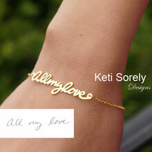 Handwriting Signature Bracelet - Sterling Silver or Solid Gold