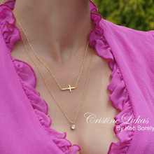 Layered Sideways Cross Necklace with Round CZ Stone Charm - Choose Your Metal