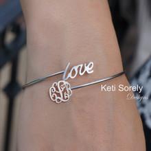 By Pass - Bangle Bracelet with Monogram Charm & Love - Choose Metal
