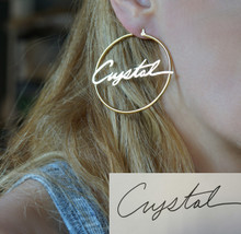 Handwritten Signature Hoop Name Earrings - Choose Metal