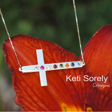 Sideways Cross Necklace with Family Birthstones - Genuine Stones