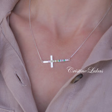 Sideways Cross Necklace with Family Birthstones - Choose Metal