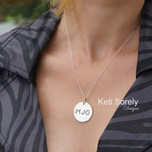 Hand Cut Monogram Initials with Round Disk Necklace - Choose Your Metal