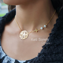 Monogram Necklace with Sideways Cross and Pearls
