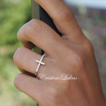 Celebrity Style Sideways Cross Ring with CZ Stones - Sterling Silver