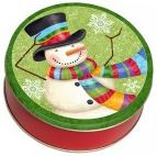 Snowman Tin Filled With Chocolate Covered Nuts