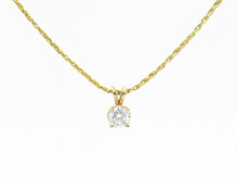 18 and 14 Karat Yellow Gold 0.70 Carat Diamond Solitaire Pendant