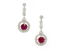 14 Karat White Gold Ruby and Diamond Halo Dangle Earrings