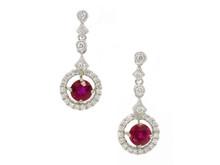 14 Karat White Gold Ruby and Diamond Halo Dangle Earrings