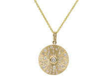 14 Karat Yellow Gold Diamond Set Disc Necklace