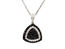 14 Karat White Gold Black and White Diamond Necklace