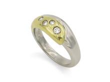 Platinum and 18 Karat Yellow Gold Diamond Ring