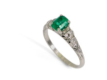 Platinum 1.02 Carat Emerald and Diamond Ring