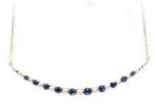 Sapphire and Seed Pearl Crescent Moon Necklace