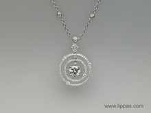 14 Karat White Gold Diamond Two Row Circle Pendant