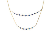 Double Crescent Sapphire and Pearl Necklace