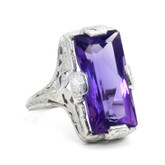 14 Karat White Gold Amethyst Ring