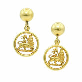 18K Lion of Judah Dangle Earrings