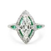 Platinum Marquise Diamond & Emerald Ring