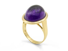 18K Yellow Gold  17ct Amethyst Cabochon Ring