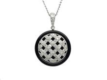 14 Karat White Gold Diamond and Onyx Weave Pendant