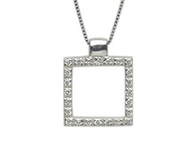 14 Karat White Gold Square Diamond Pendant