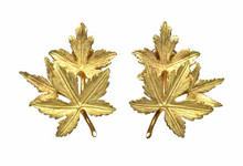 18 Karat Yellow Gold Maple Leaf Earrings
