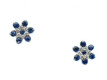 14 Karat White Gold Sapphire and Diamond Cluster Stud Earrings