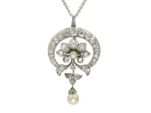 Victorian Rhodium Plated Silver Topped Gold Diamond and Pearl Pendant