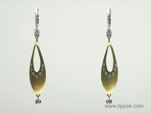 Artisan Two Tone Gold and Diamond Marquise Shaped Drop Earrings