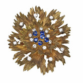 18 Karat Yellow Gold Floral Motif Diamond and Sapphire Brooch