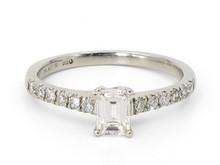 Platinum 0.54 Carat Emerald Cut Diamond Ring