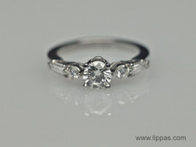 Platinum Diamond Ring With Round and Tapered Bugauette Diamonds