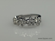 14 Karat White Gold Diamond Flower Cluster Band