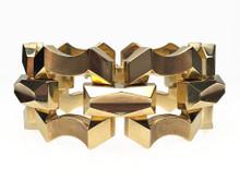 14 Karat Yellow Gold Wide Retro Link Bracelet