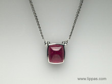 14 Karat White Gold Sugarloaf Rubellite and Diamond Necklace