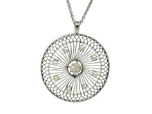 Platinum Edwardian Diamond and Pearl Pendant